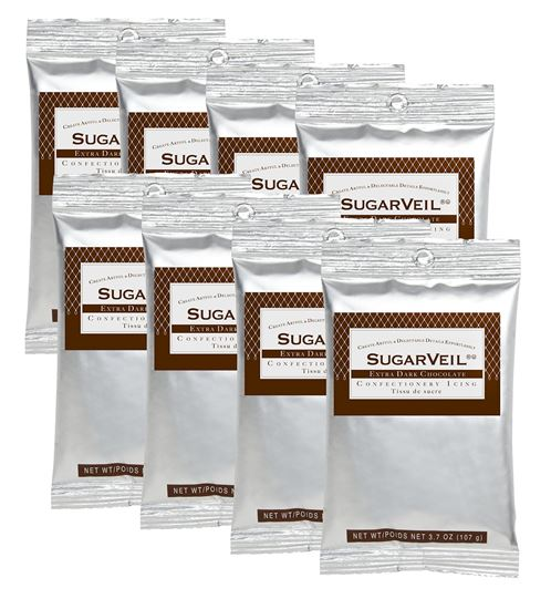 Picture of SugarVeil Extra Dark Chocolate Confectionery Icing 8 pack of 3.7 oz. pouches