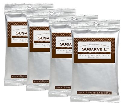 Picture of SugarVeil Extra Dark Chocolate Confectionery Icing 4 pack of 3.7 oz. pouches